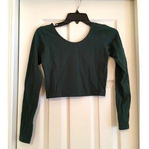 American Apparel Long Sleeve Hunter Green Crop Top